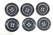 6 Black Buttons With White  Center Rim Imported 4 Hole Center 3/4 Inch Buttons