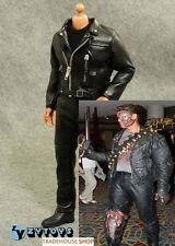 ZY TOYS 1/6 Black Leather Jacket Suit Set For TTM Terminator T-800 TV01c