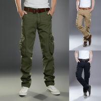 Mens Multi Pockets Cargo Trousers Combat Work Elasticated Waist Pants Bottoms