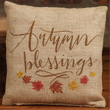 "AUTUMN BLESSINGS, Fall Leaves Small Burlap Pillow 8""x8"" Country Rustic Decor"
