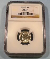 1963-D 10c NGC MS67 ROOSEVELT DIME SILVER MS 67