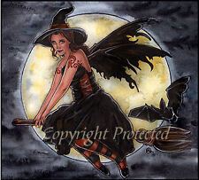 Halloween Fairy Faery Bat Broom Print 8.5x11 Witch Wicca Marjolein Samhain Moon