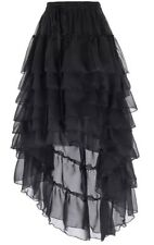 New Black Gothic Chiffon Tiered High Low Corset Party Skirt size L 16 18 20 22