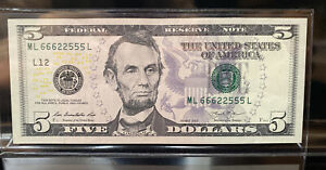 $5 Bill-RARE Trinary FaNcY nOTe #66622555 (AU) 'eXTreMeLy cOOl' Rating @ 99.08%!