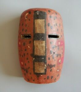 GOOD SMALL CONGO CARVED WOODEN PAINTED TRIBAL ART ITURI RAINFOREST FACE MASK NR!