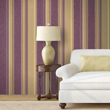Crown Quattro Stripe Purple Gold Glitter Metallic Feature Wallpaper Vinyl M1101