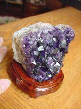 (R280-N) Purple amethyst matrix gem gemstone crystal DISPLAY specimen with stand