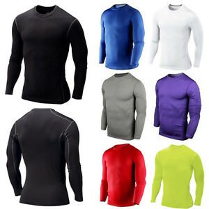 Men Compression Base Layer Long Sleeve Muscle Under T Shirt Sport Yoga Athletic