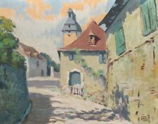 Vintage French Oil Painting, Village, Signed Lucien-Marie Le Gardien (1908-1978)