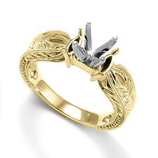 SOLID TWO-TONE GOLD ENGAGEMENT RING MOUNT #R1251.