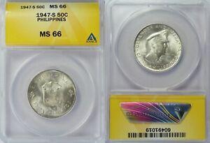 1947-S Philippines 50 Centavos ~ MacArthur Commemorative ~ ANACS MS66 ~ 1019