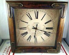 Vintage Verichron Wall Hanging Clock Square Wooden Box Quartz Roman Numeral USA