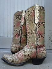 All Leather, Handmade REAL Pink Python Snake Cowboy Boots, Woman's Size 7.5