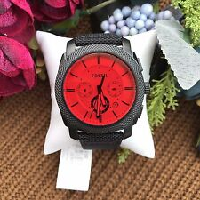 NWT Fossil Men's Machine Chronograph Black Red Nylon Leather Watch FS5235 45mm