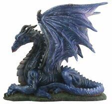 Midnight Black Dragon Laying Down Statue Figurine Medieval Fantasy Decoration
