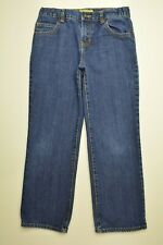 Old Navy Size 10 HUSKY Boys STRAIGHT Leg ADJUSTABLE WAIST Dark Wash BLUE JEANS