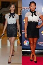 $5,200 VALENTINO Pussy-Bow Lace Black and White Mini Dress size 8 NWT