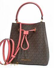 Michael Kors Suri Medium Bucket Messenger Bag MK Logo Crossbody Grapefruit Brown