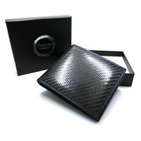 Stylish Men's RFID 100% Real Carbon Fibre Top Grain Leather Coin ID Card Wallet