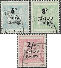 Tokelau 1966 ARMS SURCHARGES Overprinted 6d, 8d, 2/- (3) Fine Used SG 6-8 (C11)