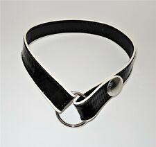 ICEBERG Belt Black White Trim XS (70cm Waist) Logo Genuine Patent Leather Italy!