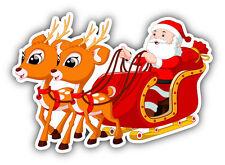 "Christmas Santa Sled Car Bumper Sticker Decal 5"" x 4"""