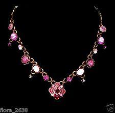 TRÈS BELLE QUALITÉ Collier Axelle création fleurs rose strass bijoux fantaisie