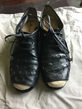 EL Black Leather Open Peep Toe cutout Shoes Made in Italy size 9