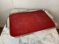 Vintage 1950's Red Metal Tray with Lip and Handles