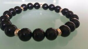 Men's black gemstone bracelet black Onyx 9k gold beads