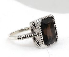 Quartz Rectangle Ring Size 9.5 925 Sterling Silver Smokey Brown