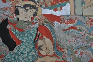 JAPON Gravure ancienne Shunga Kunichika Erotique Curiosa Phallus Homme Femme 19