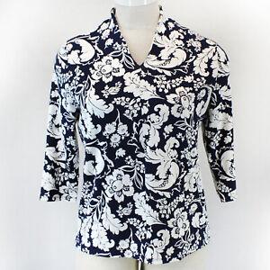 Talbots Plus Size Blue Floral High Neck Top Blouse Shirt 1X