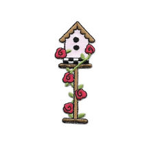 Birdhouse - Red Rose - Bird Watching - Iron On Applique Patch