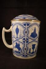 Impresionante Porcelana Lomonosov San Petersburgo URSS Azul y Blanca Taza Taza Con Cubierta