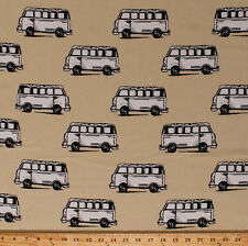 Cotton Micro Bus Buses Vans Vehicles Transportation Driving Fabric BTY D775.11