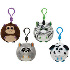 TY Beanie Ballz - Set of 4 Key Clips (Bananas, Mischief, Oasis, Rascal) Lot