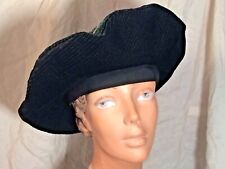 vintage Black velvet Beret cap 40s soft fabric Large big Oversized hat Elastic