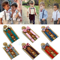 Kids Baby Wedding Party Matching Braces Suspenders Luxury Cute Bow Tie Set TON