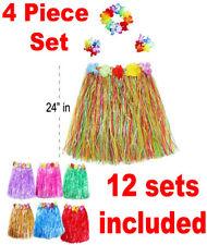 12 Hawaiian Luau Skirt Sets Girls Outfit Lei Wreath Tropical Hula Wholesale