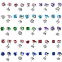 925 Silver 18K CZ Ear Stud Earrings Cubic Zircon Women Fashion Wedding Jewelry