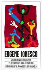 Eugène Ionesco-Galería Dreiseitel Köln 1985 original firmado Cromolitografía