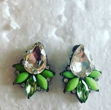 Green Gem Stud Statement Earrings-Party Gift Wedding present EVENING BIRTHDAY