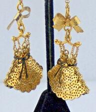 "Gold Blk Enamel Nwt Perfect Betsey Johnson Earrings Dream Dress 3-1/2"""