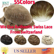 Mens Toupee Hairpiece SWISS LACE Basement Wig Remy Human Hair Replacement System