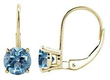 4MM Round Shape Aquamarine Leverback Earrings in 14k Yellow Gold