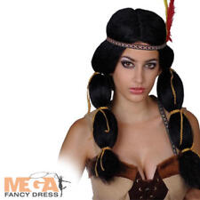Indian Princess Wig Pocahontas Fancy Dress Costume Ladies Womens Western Wig