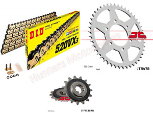 Kawasaki Z750 DID Gold X-Ring Chain and JT Quiet Sprocket Kit Set 2004 to 2011