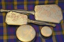 4 Piece Vintage Vanity Set -Mirror, Brush, Powder& Cream Jars w/Pink Rose Design