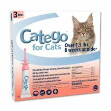 New listing New 3 pack Catego Fast Acting Flea & Tick Treatment For Cats Kittens Over 1.5
